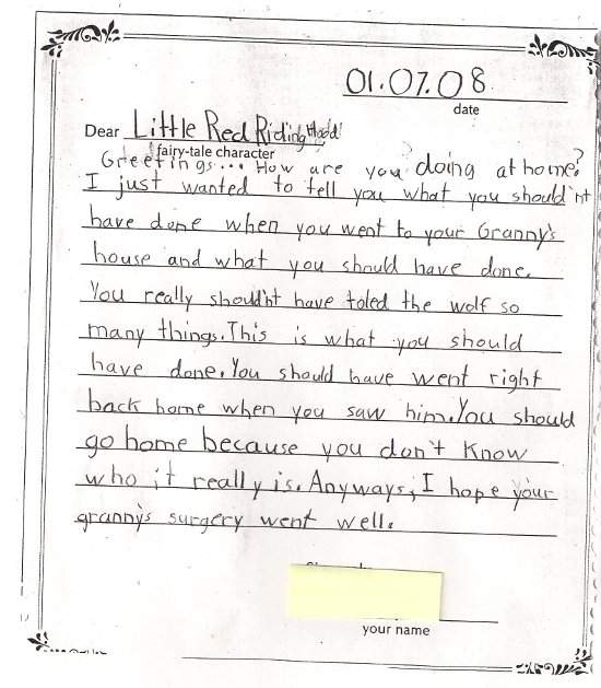 Student writing example of letter to Little Red Ridinghood.