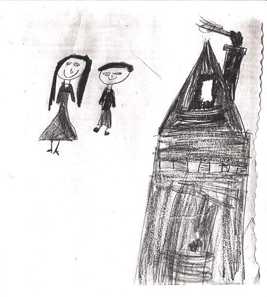 Student's drawing of Hansel & Gretle beside their house.