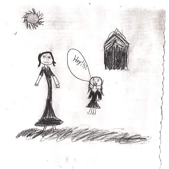 Student's drawing of her giving advice to Snow White.
