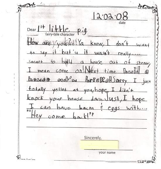 Formats for writing letters roho4senses student writing examples expocarfo Choice Image