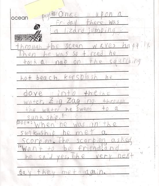 Student's paragraph on lizard living by the ocean.